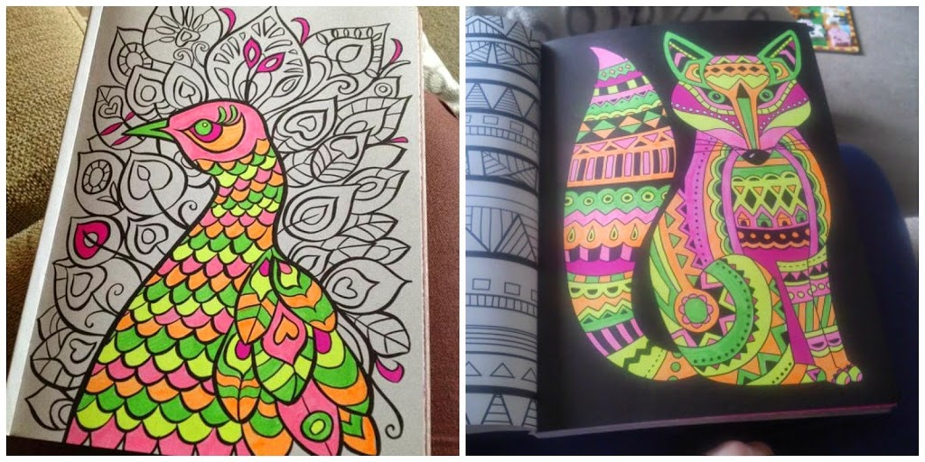inside neon colouring book