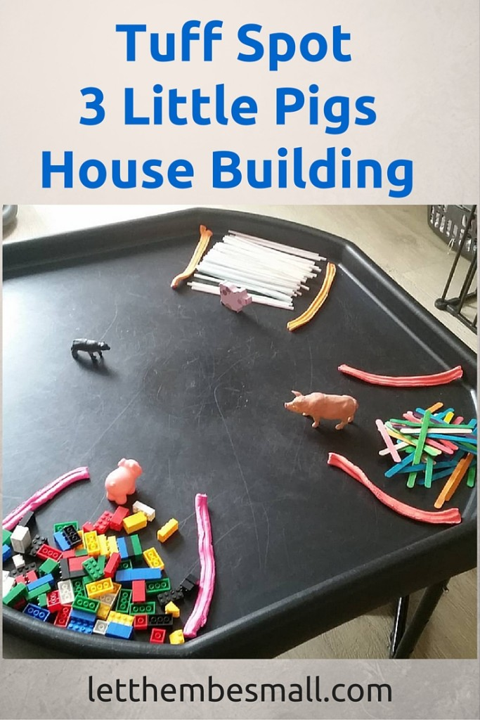 Three little pigs house building tuff spot is a great activity for fine motor skills, STEM, engineering and maths - great fun!
