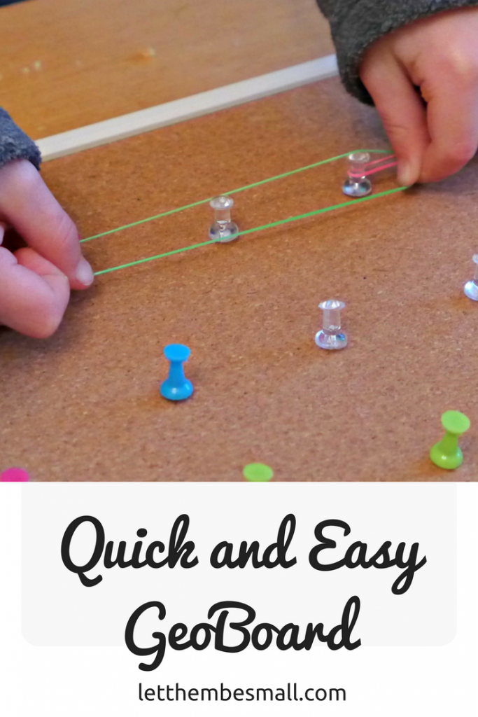 this is a super quick and easy geo board using just three things - great for preschoolers and early maths development