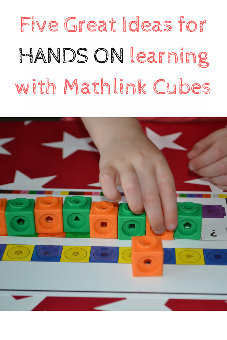 five great ideas for hands on learning with math link cubes. Great for preschool, reception and Key Stage 1 (KS1)